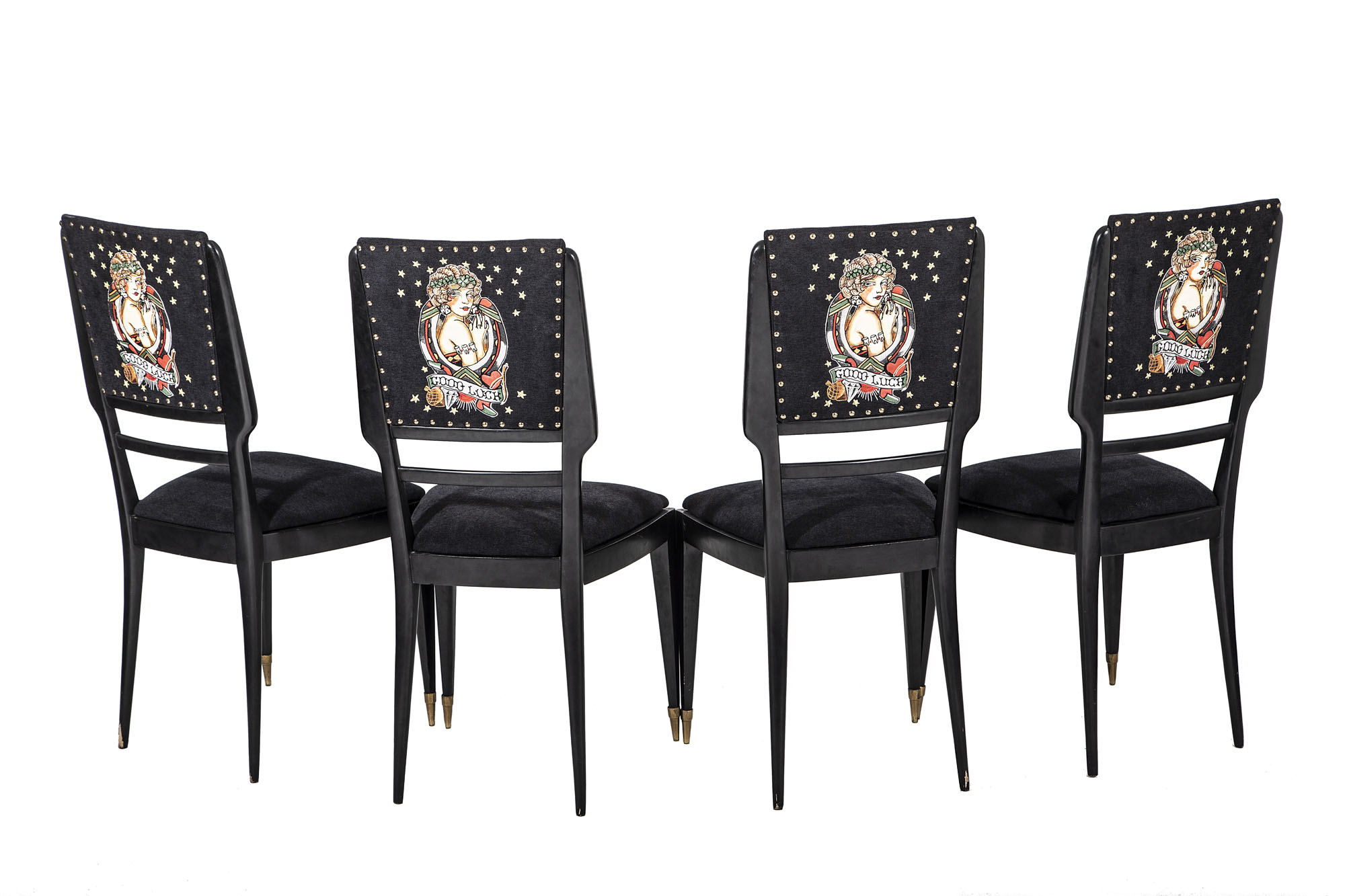 Magnificent Set Of 4 Italian Mid Century Chairs With Sailor Jerry Lady Beatyapartments Chair Design Images Beatyapartmentscom