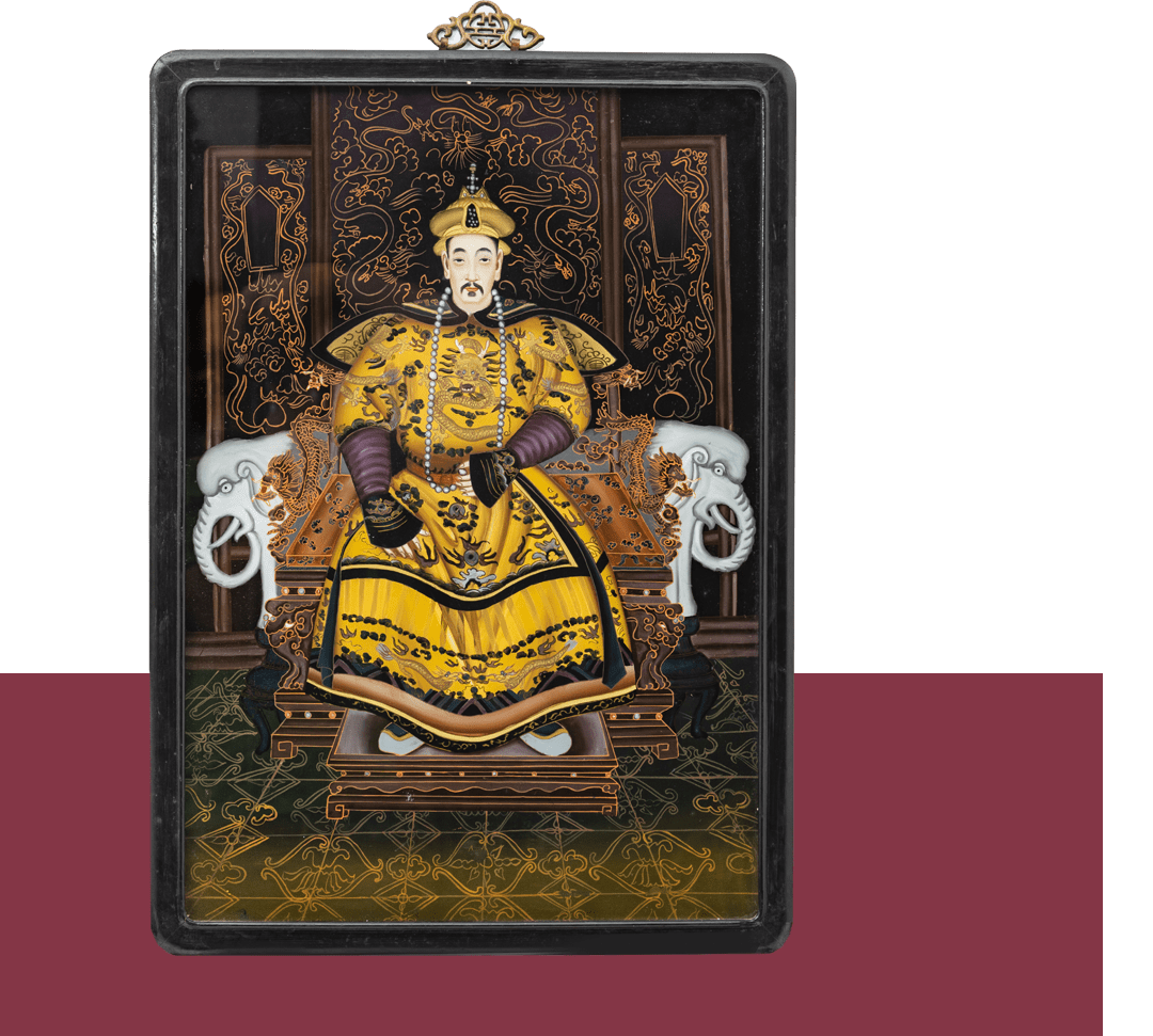 """Painting on glass depicting royal dignitary"""
